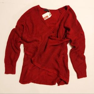 Maison Mascallier Red Crisscross Wrap Sweater